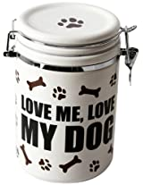 """DEI Stoneware Just Dogs Collection """"Love Me Love My Dog"""" Treat Jar"""