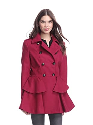 Miss Sixty Women's Double-Breasted Fit-and-Flare Coat (Ruby)