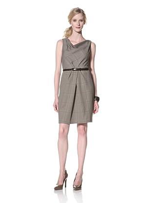 Chetta B Women's Plaid Draped Dress (Brown/Beige)