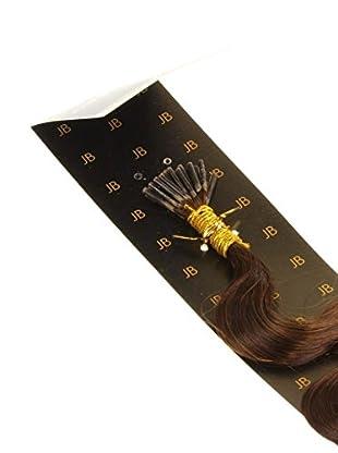 Just Beautiful Hair and Cosmetics 60 cm Echthaarsträhnen 1g Stick Extensions / I-Tip Microrings gelockt, Remy Haarverlängerung, braun, 1er Pack (1 x 100 Stück)