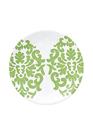 Q Squared NYC Victorian Lite Melamine Appetizer Plate, Green/White