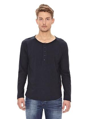 Nudie Jeans Camiseta ML Cuello Panadero (Azul)