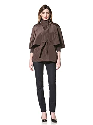 Betsey Johnson Women's Belted Capelet (Brown)