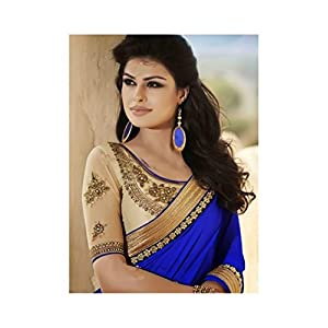 Designer royal blue heavy saree-Frinkytown