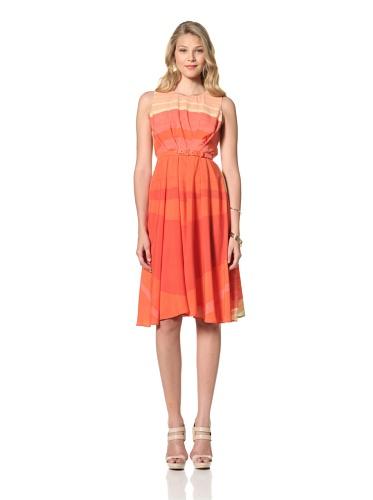 Eva Franco Women's Samantha Striped Sleeveless Dress with Belt (St. Tropez)