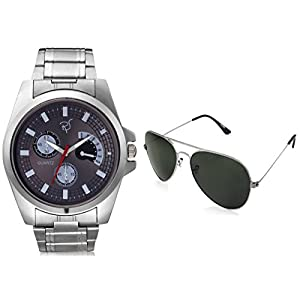 Rico Sordi Silver Stainless Steel Men Watch And Sunglasses Combo RSD 1