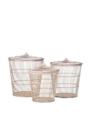 Concept Luxury Behälter für Küchenhelfer 3er Set Bamboo weiß