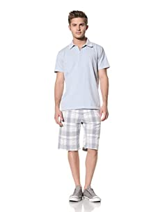 Tailor Vintage Men's Johnny Collar Polo (Sky Blue)