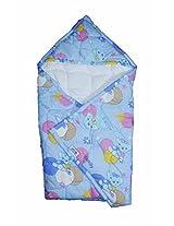 Baby hooded Wrap/ Swaddler - blue