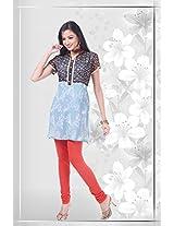 Georgette Blue Stitched Floral Print Kurti - 12-4685KT202255 - 38