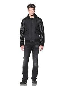 MG Black Label Men's Lumbar Varsity Jacket (Onyx/Charcoal)