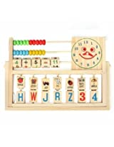 Children Baby Kids Learning Developmental Versatile Flap Abacus Wooden Toys