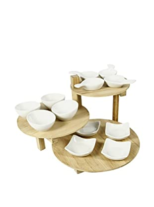 Delys-By-Verceral Set De 12 Mini Cuencos Y 3 Bandejas En Bambú