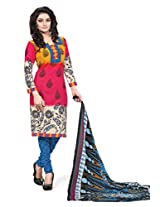 BanoRani Womens Red & Yellow Color Casual & Printed PolyCotton Ladies Unstitched Salwar Suit Dress Material with Printed Dupatta