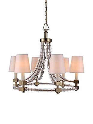 Urban Lights Cristal Medium 6-Light Pendant Lamp with Shades, Burnished Brass
