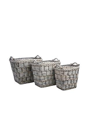 Jolipa Conjunto de 3 cestos cuadrados en mimbre