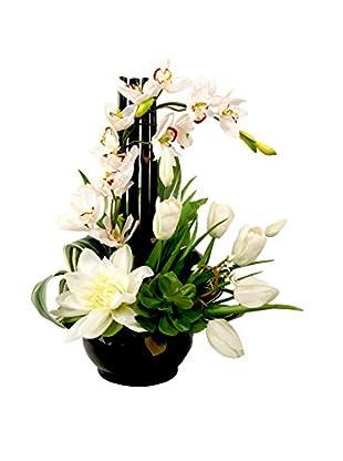 Creative Displays Cymbidium Orchid Tulips & Lotus in Ceramic Container, White/Green