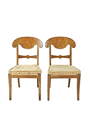 Pair of Biedermeier Style Chairs, Brown