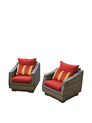 RST Brands Cannes Set of 2 Club Chairs, Red