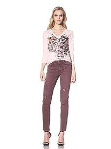 Just Cavalli Women's Distressed Slim Fit Jean (Rose)