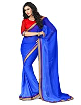 Blue Color Chiffon Saree with Border and Blouse 4013