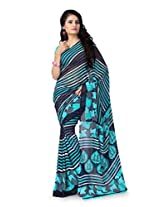 Vaamsi Women's Faux Georgette Saree With Blouse Piece(Vega3112_Blue)