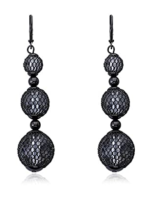 Riccova Country Chic Triple-Drop Mesh Over Lucite Earrings, Black