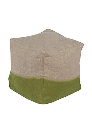 Surya Dip-Dyed Pouf, Green