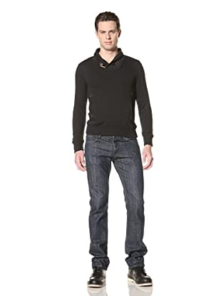 Premium Lounge Men's Shawl Collar Pullover with Toggle (Black)