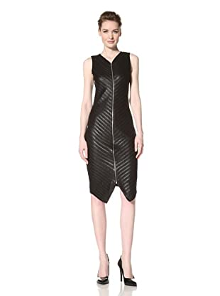 Christian Siriano Women's Zip-Front Chevron Dress (Black)