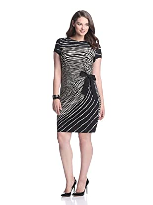 Gabby Skye Women's Side Tie Dress (Black/tan)