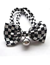 Blingy's® Stylish Black and White Block Pattern Bowknot Collar/Bow-Tie with Bell for Cats or Dogs(With Blingy's...
