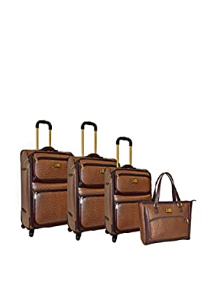 Adrienne Vittadini Croco 4-Pc Luggage Set, Brown