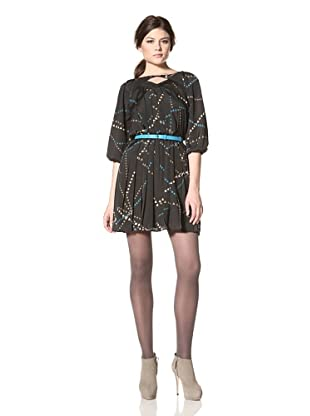 Jessica Simpson Women's Pintuck Dress with Belt (Circus Black)