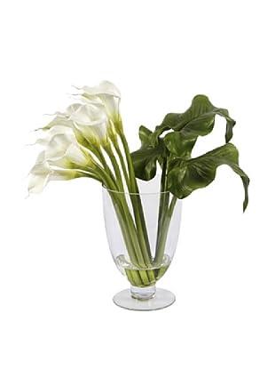 Calla Lily in Glass Vase, White