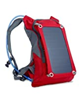 Ergonomic Solar Charger Backpack (7W), Hydration Pack Backpack (2L Bladder Bag), With Removable Solar Panel Charging for iPhone 6 plus 5s 5c 5 4s 4, ipad mini, Samsung Galaxy S5 S4 S3, Blackberry and Other USB Compatible Devices (Red)
