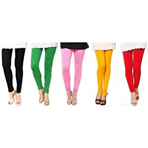 Woman's Cotton combo Leggings ( Pack of 5 )