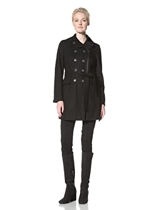 Calvin Klein Women's Double-Breasted Coat with Zipper (Black)