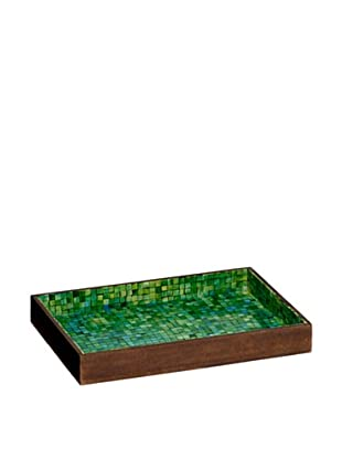 Mela Artisans Handcrafted Inlaid Bone Serving Tray, Green/Turquoise