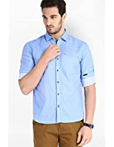 Solid Blue Casual Shirt