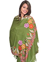 Exotic India Stole from Kashmir with Ari Hand-Embroidery on Border - Color Dill GreenColor Free Size
