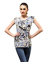 Printed Wrap Top - Abstract Floral Print