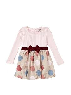Monnalisa Bebe Dotted Taffeta Dress (Pink)