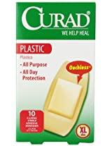 Curad Plastic, X-Large Bandage 2 Inches X 4 Inches, 10-Count (Pack of 4) by Curad
