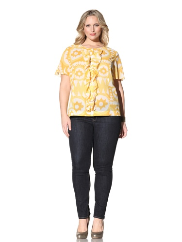 Z from Zenobia Women's Plus Short Sleeve Ruffle Front Blouse (sunflower)