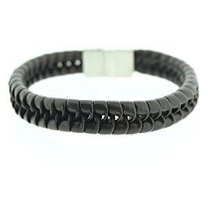 Gents Braided Brown Leather Bracelet Cuff and Stainless Steel Clasp- Mens Jewellery by Opouriao