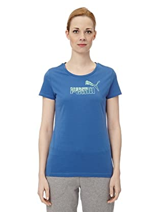 Puma Damen T-Shirt Large Logo (delft blue)