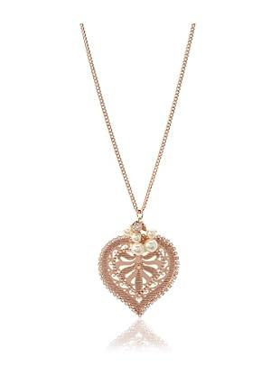 LK Designs Rose Gold Silk Long Heart Necklace
