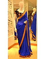 Ethnic Trend Georgette Bollywood Replica Saree - 5325 (Royal Blue)