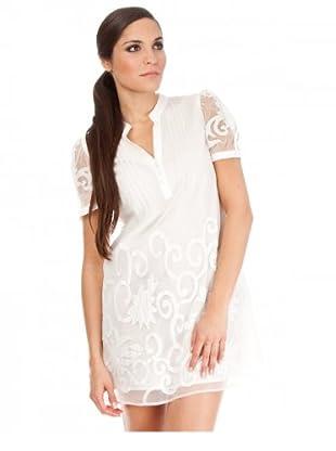 Cortefiel Kleid Tüll bestickt (Weiß)